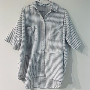 Madewell Striped Boxy Button Up Tee